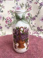 Ozdobna butelka decoupage urodziny imieniny prezent dekoracja flakon