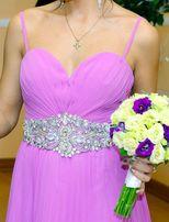 Платье вечернее свадебное выпускное плиссированное сиреневое в пол