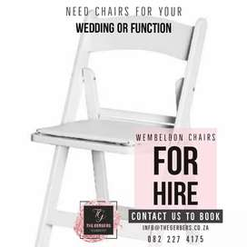 Tiffany chairs and Wembeldon chairs for hire