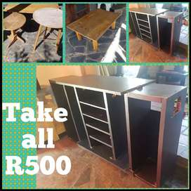 3 x Tables and Tv display unit