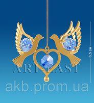 Подвеска Сваровски с позолотой Сердечко с голубями AR-3670