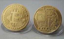 Подарочная монета Bitcoin золотая