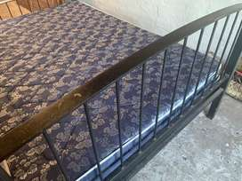 Solid steel double bed with new matrass