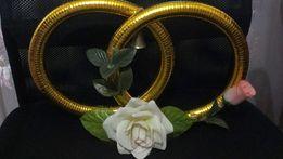 Комплект украшений на машину для свадьбы «Обручальные кольца»