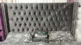 New king grey velvet freestanding headboard with wings and buttons