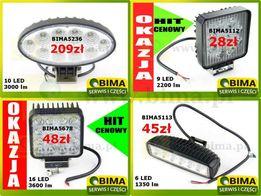 Halogen lampa robocza reflektor 6,9,10,16 LED WESEM 12-24V OKAZJA HIT