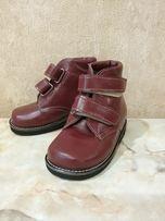 детские ортопедические ботинки,кожаные,мех, р-р по стельке 14 см, ЗИМА