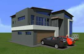 Land, Double story slab, plan and 3 D designs.