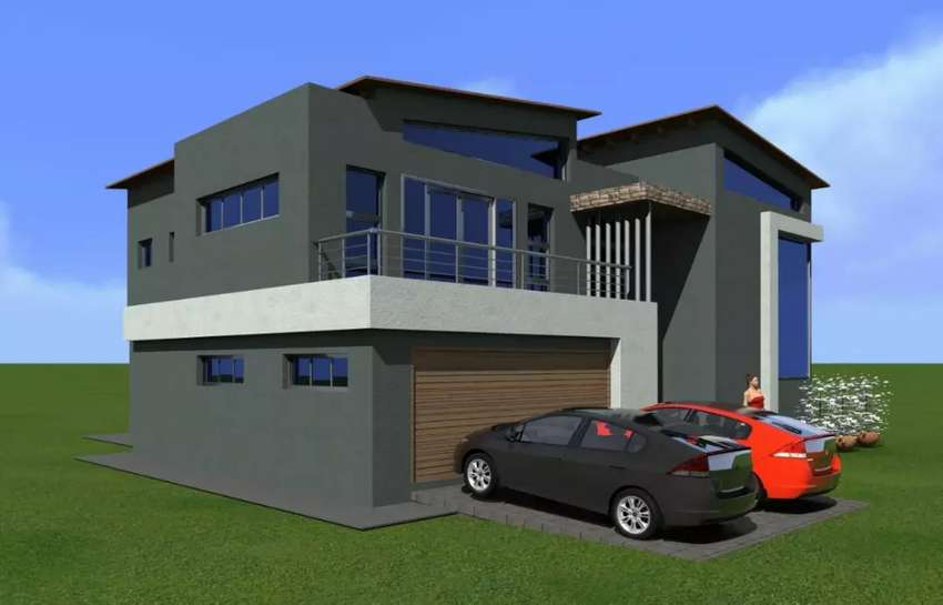 Land, Double story slab, plan and 3 D designs. 0