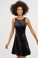 H&M Sukienka damska welurowa czarna rozm. 36
