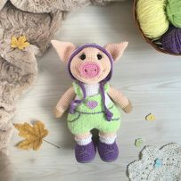 Вязаные игрушки, амигуруми, свинка