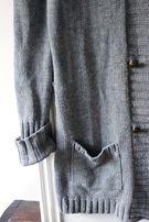 Kardigan boho, szary, długi, sweter, rozm.L, blezer, oversize, maxi