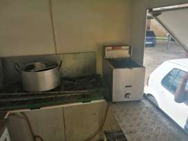 Stove, fridge and other necessary features to sell food