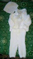 !!!святковий вязаний костюмчик та повзунки на новонародженого.