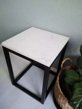 Beautiful stone and steel side table!