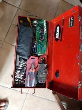 Full Metal Tool Box with lots of electrician equipment