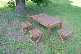 Раскладной стол + 4 стула из дерева для пикника природы сада дачи