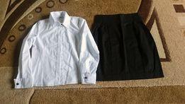 galowo;)biała bluzka 152/czarna spódnica