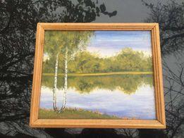 картина маслом природа береза река в деревянной рамке