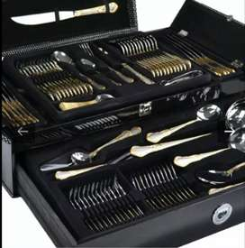 86 piece Premium Silver and Gold Cutlery set