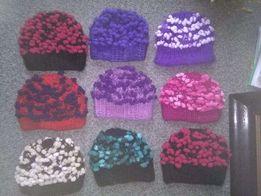 Rękodzieło czapka wełna ręcznie zrobiona na drutach