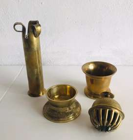 Ornamental & Functional Brass Set (4 Solid Pieces Included)