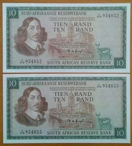 Set of 2 consecutive 1975 uncirculated R10 notes