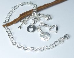 charms srebro 5 zawieszek bransoletka baza komplet