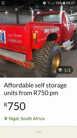 Affordable self storage units from R750