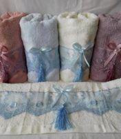 Новые праздничные банные полотенца белые крестины можно