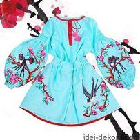 ЭТНО-Платье БОХО,вышиванка чешский бисер,вишита сукня,плаття заготовка