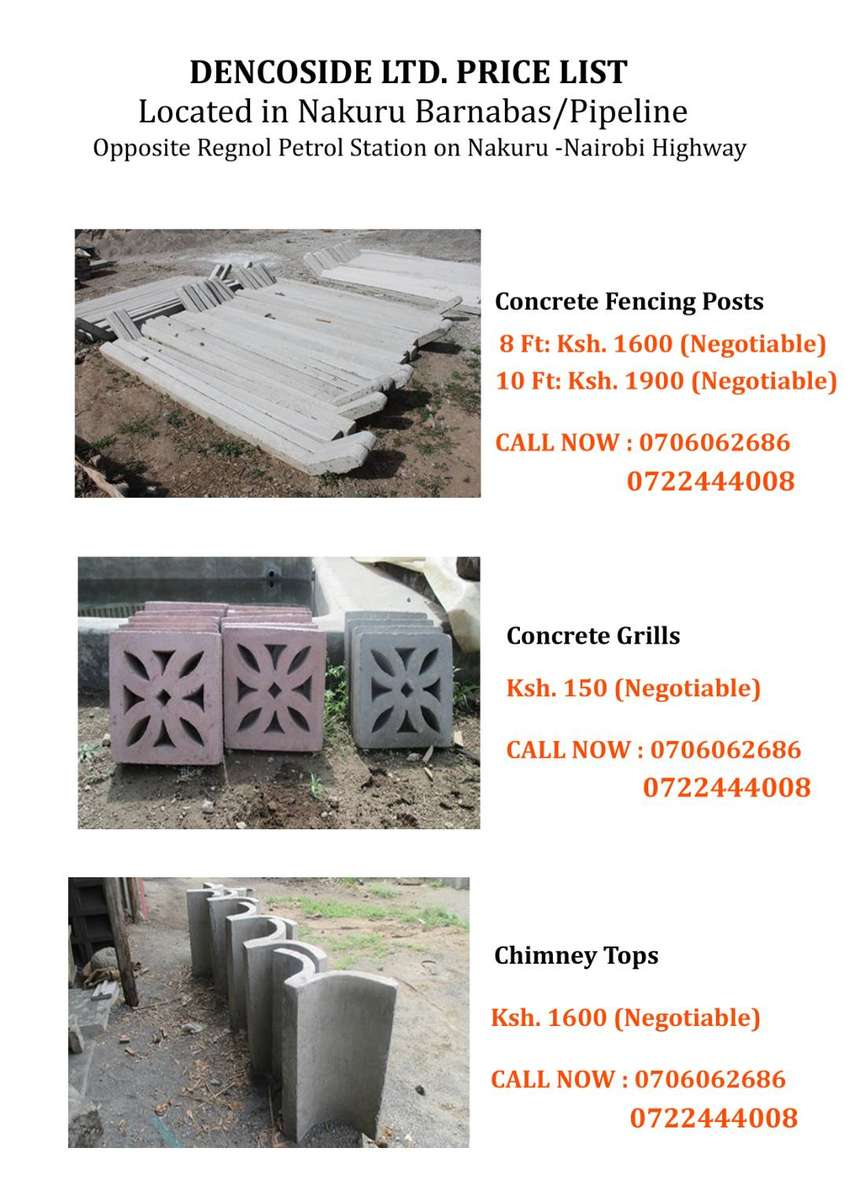 Precast Concrete Fencing Posts,Concrete Grills & Chimney Tops/ Covers 0