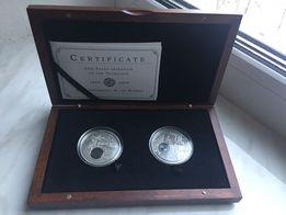 2 срібні монети 400 років телескопу (Ханс Ліпарсгей та Хаббл)