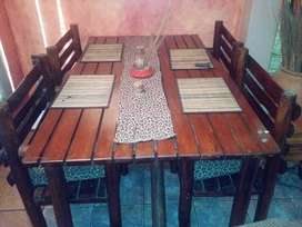 Wooden Table with chairs.