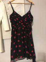 Sukienka Guess, piękna letnia36-38, czarna w różowe groszki