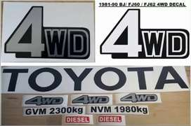 Decal sticker set for a 81 land cruiser fj60 fj62 bj60 bakkie