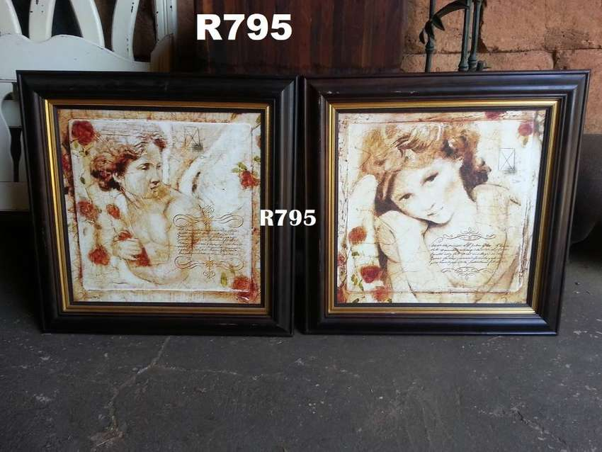 2 x Classic Vintage Framed Pictures (650x650) 0