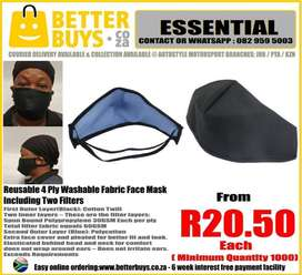 Reusable Fabric Washable Face Mask with two filters First Outer Layer(