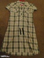 H&M sukienka zielona krata r.L JAK NOWA