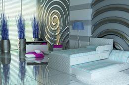 Łóżko piętrowe dla dzieci i młodzieży, eko skóra, kryształki, 3 wymiar