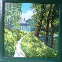 Картина 40х40, холст, масло, лето, домик у пруда