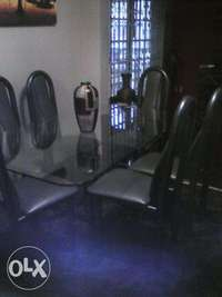 Image of Glass dining room Table & 6 Chairs-Solid piping