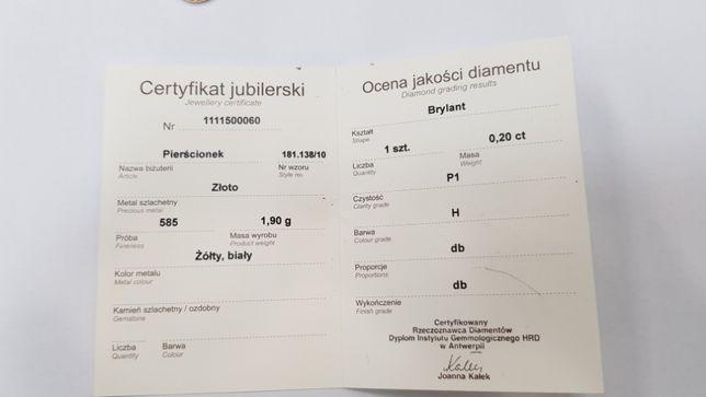 APART! BRYLANT 0.2 CT! ZŁOTY PIERŚCIONEK/ 1.9g/ R9 + certyfikat/ sklep Gdynia - image 6