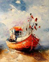 Kuter rybacki - obraz olejny statek morze