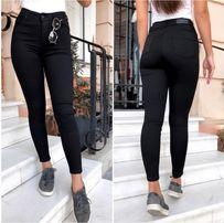 Женские чёрные джинсы с высокой посадкой