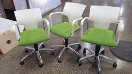 Office Chairs: Activa S&T Chair Chrome Base & Arm White/Force Lime