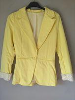 Żółty materiałowy żakiet S