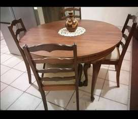 Large Wooden extendable table with 5 chairs