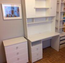 Białe biurko z nadstawką, proste, narożne, z szufladami, dla dzieci