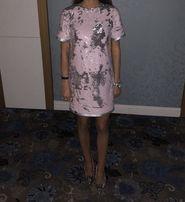 Платье паетки розовое серебро чешуя Dior стразы камни gucci выпускное